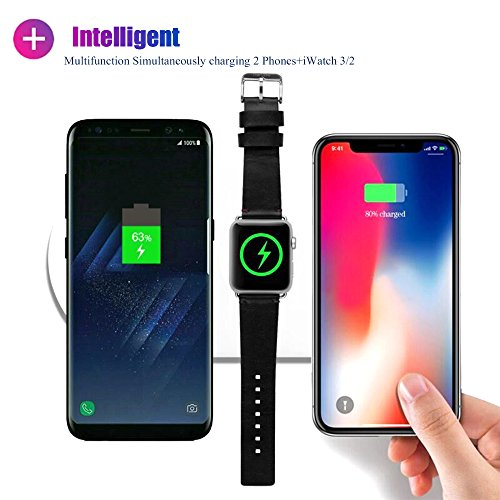 Fast Wireless Charging Pad, 3 in 1 Qi Fast Wireless Charger Compatible for iWatch 3/2,Ultra Slim Wireless Charger Pad Compatible for iPhone X/8Plus/8,Samsung Galaxy S9/9+/S8/S8+
