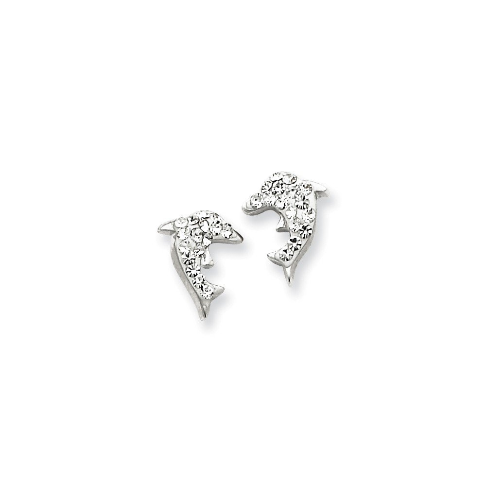 .925 Sterling Silver 10 MM Children's Stellux Crystal Dolphin Post Stud Earrings