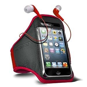 ONX3 ZTE Blade Q Maxi Ajustable Deportes Gimnasio Jogging Brazo Banda caso y de 3,5 mm en la oreja Auriculares Base almohadillas (rojo)