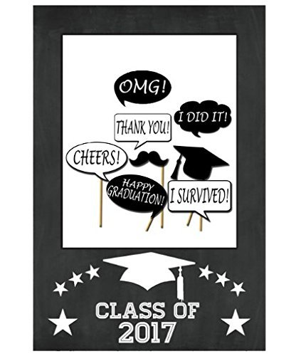 Learn More About Class Of 2017 - Graduation Party Photo Frame Props Bachelor Cap PhotoBooth Grad Cer...