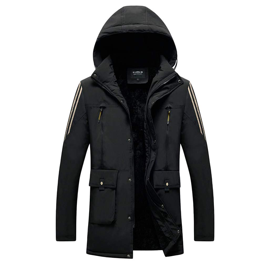 Men's Winter Jacket for Traveling Climbing Hiking Outdoor Windproof Waterproof Hooded Coat (XXXL, Black) by Moxiu Men's Coat