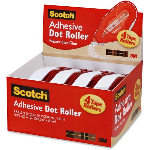 Scotch Adhesive Dot Roller, 0.31 x 49 Feet + 1 Refill