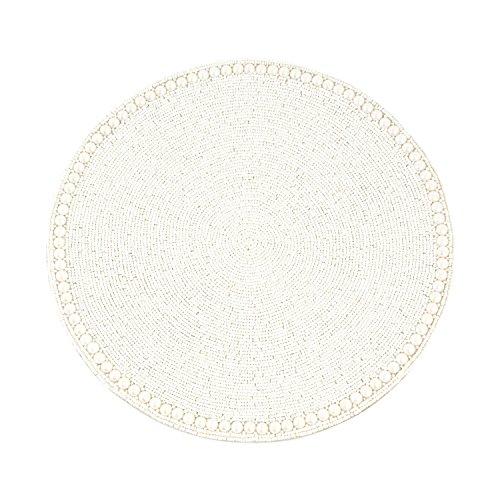 SARO LIFESTYLE 990.VN15R Glass Beaded Placemat, Vanilla, 15
