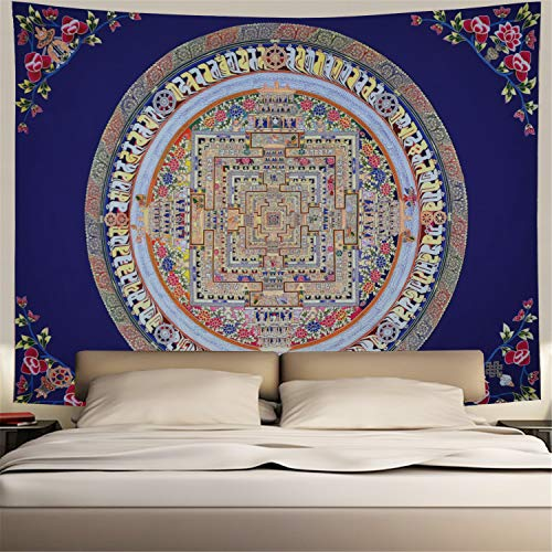 Hippy Mandala Tapestry Bohemian Psychedelic Thangka Art Decoration Tapestry(H78.7 × W59.1)