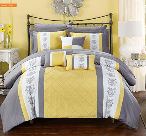 Mikash New Soft Clayton 10 Piece Comforter Set Pintuck Pieced Block Embroidery Bed in a Bag with Sheet Set, King Grey Yellow | Style - Bedding Set Crib Tropical Punch