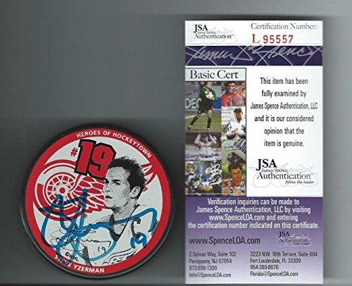 steve-yzerman-signed-hockey-puck-little-caesars-authenticated-jsa-certified-autographed-nhl-pucks