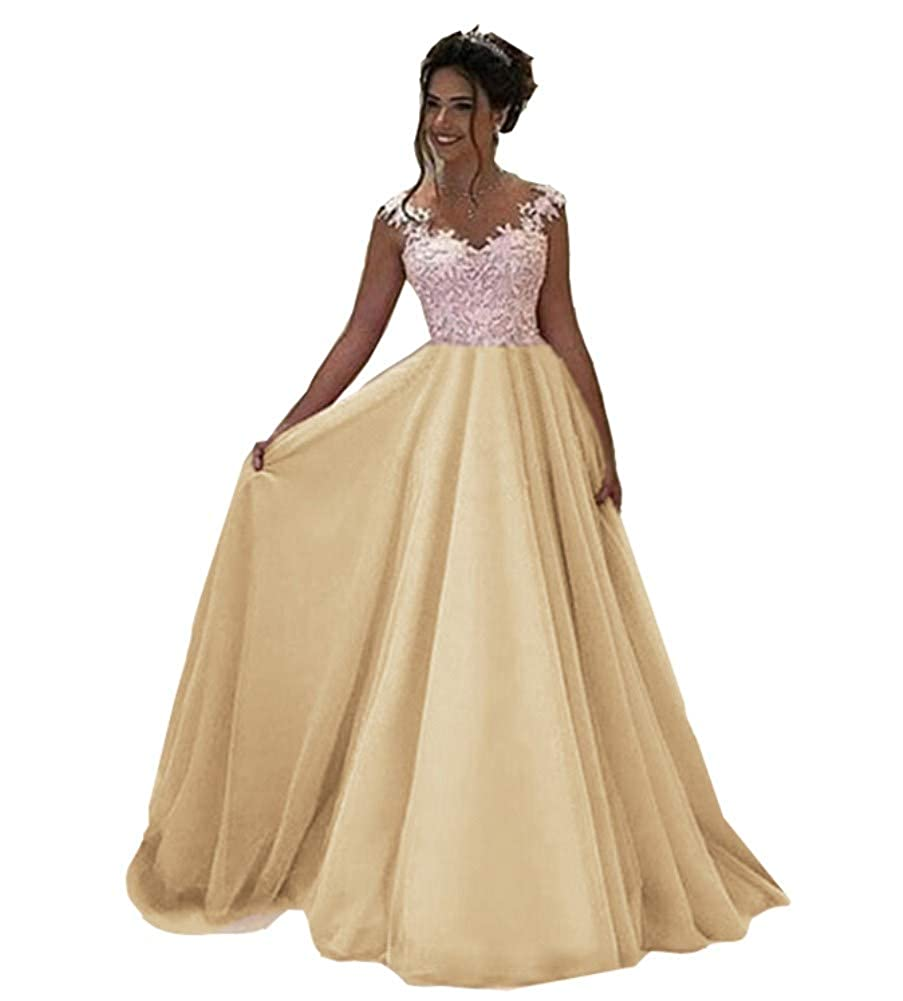 Champagne Honeydress Women's VNeck Long Sleeveless Lace Ball Gown Satin Gown for Formal Occasion