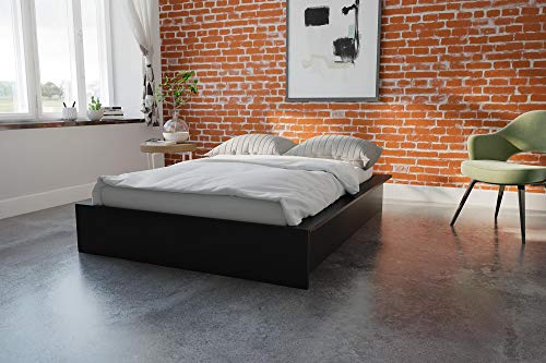 - DHP Maven Platform Bed with Upholstered Linen and Wooden Slat Support, Queen Size - Grey