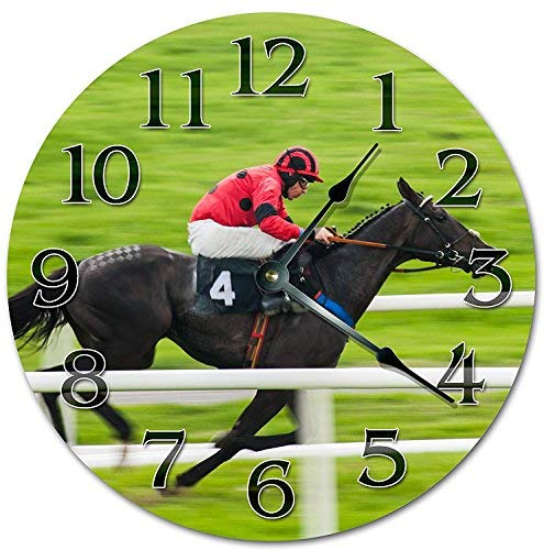 OSWALDO Vintage American Horse Racing Clock Decorative Round Wooden Wall Clock - 12 inch ()