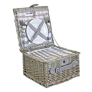 2 Person Grey Checked Picnic Basket with Cooler