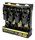 Premium Ratchet Tie Downs - 4 Pk - 12 Ft - 500 Lbs Load Cap - 1,500 Lbs Break Strength - Cargo Straps for Moving Appliances, Lawn Equipment, Motorcycles, etc. - CAMO