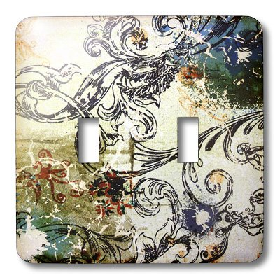 3dRose lsp_43753_2 Double Toggle Switch with Painted Navy Blue Aqua Scroll Pattern