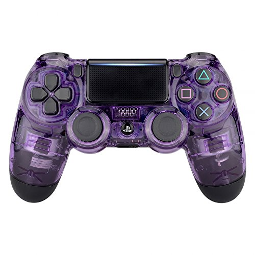 (eXtremeRate Transparent Crystal Clear Purple Front Housing Shell Faceplate Cover for Playstation 4 PS4 Slim PS4 Pro Controller (CUH-ZCT2 JDM-040 JDM-050 JDM-055))