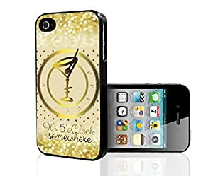 """It's 5'o Clock Somewhere"" Gold Martini Glass and Cream Background with Gold Glitter and Polka Dots Hard Snap on Phone Case (iPhone 6 plus 5.5)"