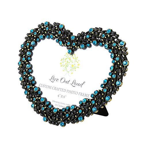 GratituValley Be My Valentine - Beautiful Sparkling Love Heart Picture Frame for 4x6 Photo. Highly Decorative Frame Filled with Turquoise Rhinestones and Striking Black Enamel Dots. A Perfect Gift