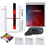 Evolis Primacy Dual Sided ID Card Printer & Complete Supplies Package with SILVER badgeDesigner ID Software