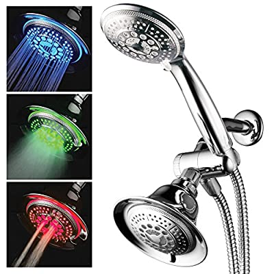 HotelSpa Shower Combo with LED Shower Head. High-Performance 2 in 1 Combination Shower System Use Overhead Hands-Free Enjoy Regular or LED Shower Pampering Shower Heads and Ambiance of LED Lighting from Interlink Products