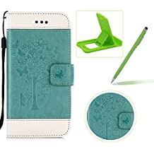 Strap Leather Case for LG G5,Carrying Wallet Pouch Cover for LG G5,Herzzer Premium Stylish Elegant [Green Butterfly Tree Girl Pattern] Color Stitching PU Leather Flip Fold Stand Card Holders Smart Case Cover for LG G5 + 1 x Free Green Cellphone Kickstand + 1 x Free Green Stylus Pen