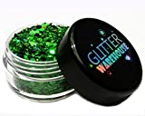 Green Holographic Chunky Glitter ❤ GLITTERWAREHOUSE COSMETIC GLITTER ❤ Loose Glitter Powder for Festival Beauty Makeup Face Body Hair Nails Eyes Lips (20g Jar)