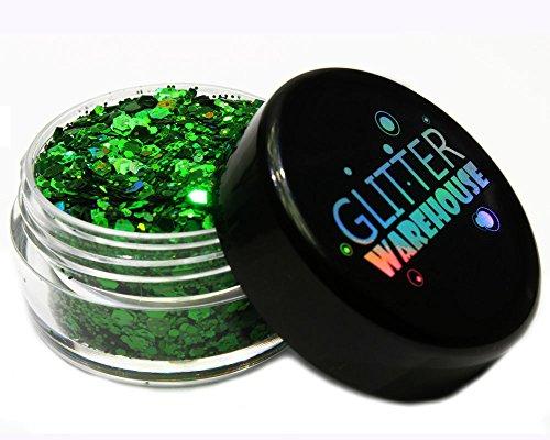 Green Holographic Chunky Glitter ❤ GLITTERWAREHOUSE COSMETIC GLITTER ❤ Loose Glitter Powder for Festival Beauty Makeup Face Body Hair Nails Eyes Lips (20g Jar) by GlitterWarehouse