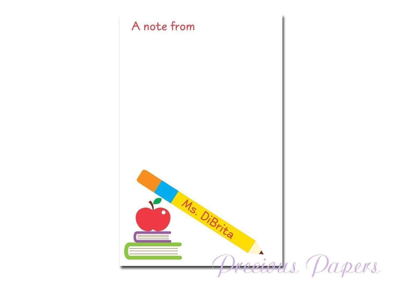 Personalized teacher notepad makes a great teacher gift or teacher appreciation gift