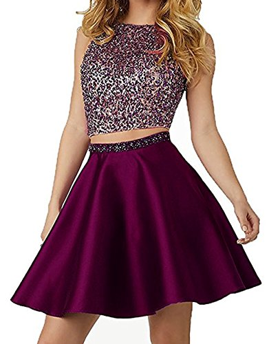 Little Star Grape Satin Homecoming Dresses Short 2017 For Juniors 2 piece Prom Dresses With Pocket A Line Cocktail Party Ball Gown, 2