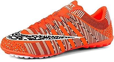 JIYE Men Soccer Shoes for Women Turf Shoe Indoor Cross Training Orange Size: 7 Women/6 Men