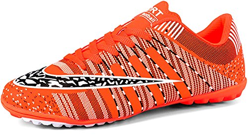 JIYE Men Soccer Shoes for Women Turf Shoe Indoor Cross Training, Orange,40 EU=7US-Men/8.5US-Women