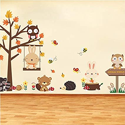 Home & Garden Wall Stickers Forest Owl Butterfly Swing Rabbit Squirrel Wall Stickers Animal Tree For Kids Rooms Children Baby Nursery Rooms Home Decor Quality First