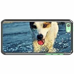 iPhone 5C Black Hardshell Case dog muzzle tongue water drops splashes Desin Images Protector Back Cover