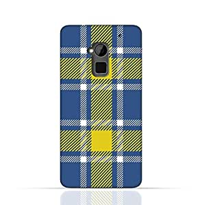 HTC One Max TPU Silicone Case with Blue and Yellow Plaid Fabric Design
