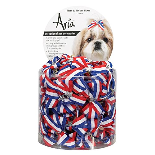 Aria Stars and Stripes Bows for Dogs, 100-Piece (Bows Canister)
