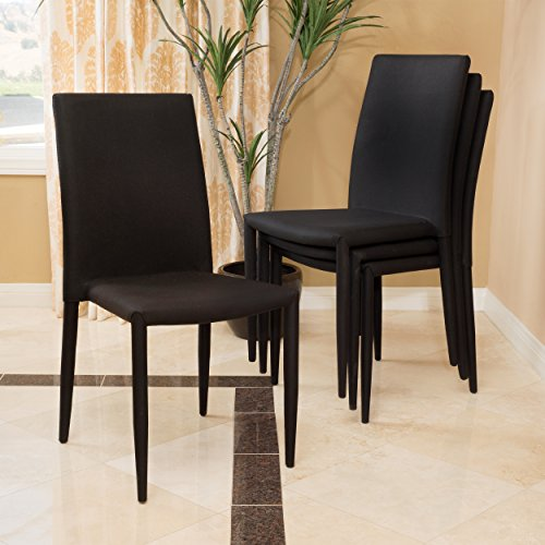 Black Fabric Stackable - Cabril Fabric Stackable Dining Chair (Set of 4)