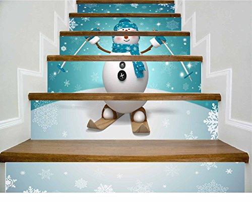 Minz Escaleras de Papel Tapiz Autoadhesivo Navidad en casa Muñeco de Nieve Decoración 3D Adhesivo Extraíble Papel Tapiz...
