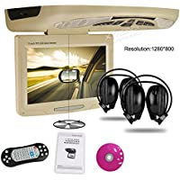 XTRONS® Beige 11 Swivel HD Widescreen Car Roof Flip Down Overhead DVD Player USB FM Game Disc IR Headsets