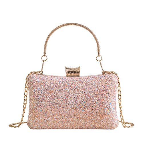 Hyuniture Women's Diamond-Studded Square Clutch Bag Handbag Shoulder Banquet Bag Wearing Chain Bag Diagonal Package Pink
