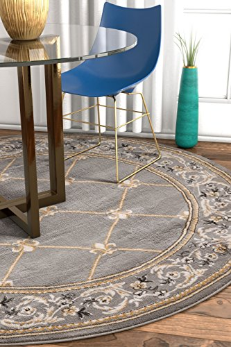 Well Woven 36280 Timeless Fleur De Lis Transitional Panel Border Grey Area Rug 5'3
