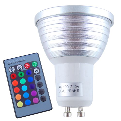 Colorful Rotating Rgb 3 Led Spot Light Bulb Lamp in US - 9