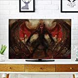 L-QN tv dust Cover Devil Shadow with Wings Primary Oppent of God Rising Hell Afterlife Flame Dust Resistant Television Protector W32 x H51 INCH/TV 55'