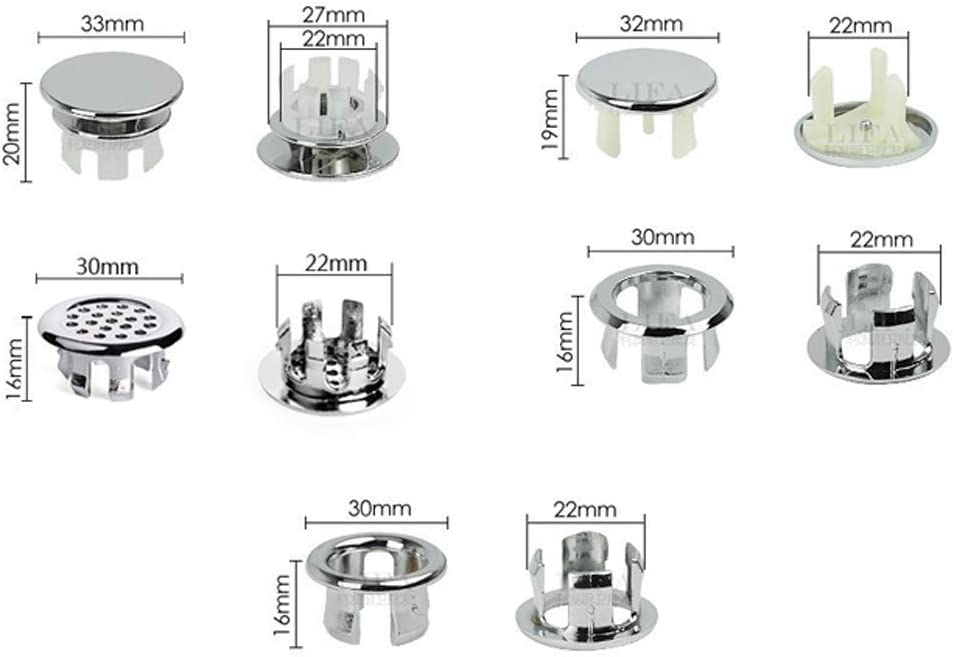 Fliyeong 1PC Bathroom Kitchen Sink Basin Trim Overflow Ring Hole Insert in Cap Round Cover Premium Quality