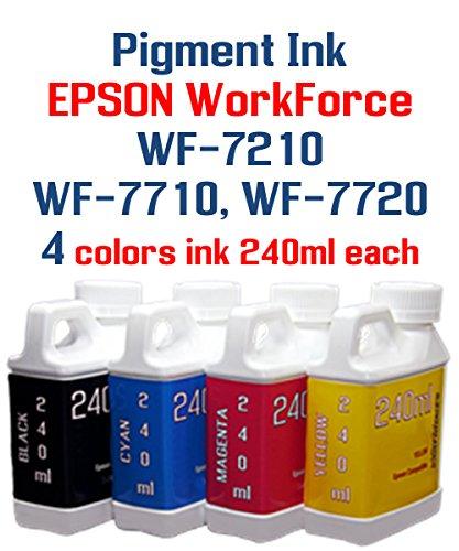 Pigment Ink - WorkForce WF-7210 WF-7710 WF-7720 printer - 4 multi-color bottles Pigment ink 240ml each color ()