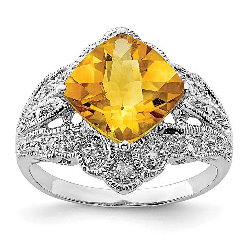 Colored Gemstones Gemstone Sterling Silver Rhodium Cushion Checker-Cut Citrine and Diam. Ring Size 7