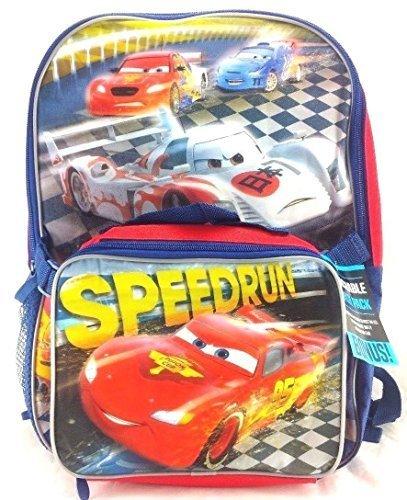 Disney Pixar Cars SpeedRun 16 Canvas Red School Backpack w/Detachable Lunch Bag [並行輸入品] B0718ZK1KN