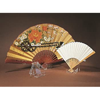 fan display stand holder easel for collector antique folding hand fans clear large 4h x 35w x 15d - Decorative Fans