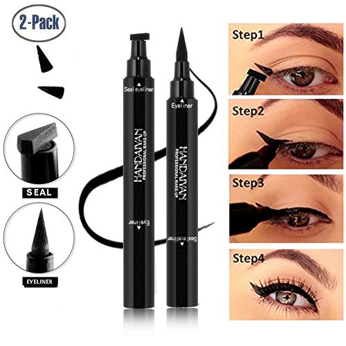 Wing Dual (BONNIESTORE 2 Pack Dual-ended Winged Eyeliner Stamp, Waterproof Black Seal Pencil Long Lasting Wing Makeup Eye Liner Pen - 2 PACK)