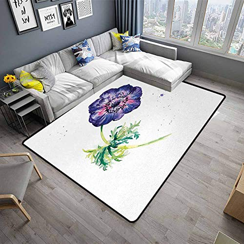 - Anemone Flower,Floor Mats for Living Room 80