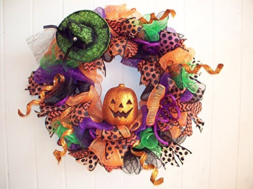 Handmade Halloween Wreath with Lighted Pumpkin! Ready to Ship! One of a Kind ()