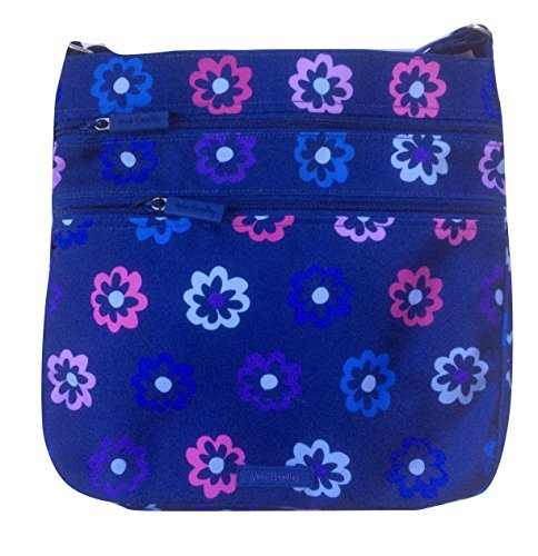(Vera Bradley Triple Zip Hipster Cross-body Bag - Lightweight Polyester Fabric Version (Ellie Flowers with Purple)