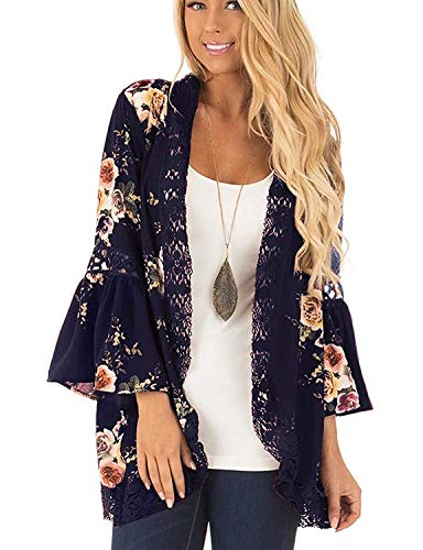 Chunoy Women Casual Floral Print Lace Trim Bell Sleeve Kimono Cardigan Cover Up Deep Blue Medium - Lace Trim Bell Sleeve