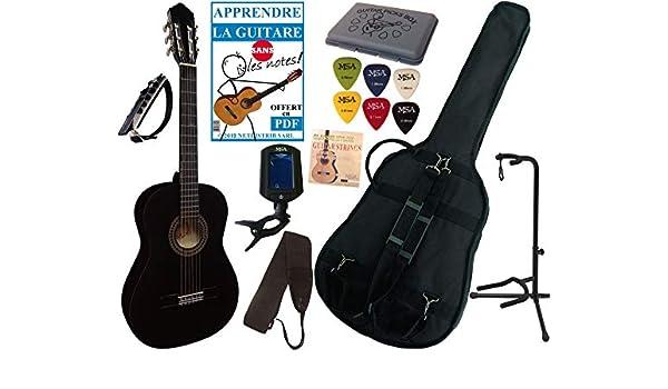 Guitarra clásica 4/4 para adulto con 7 accesorios (negra): Amazon ...